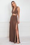 High-Slit Jumpsuit with Cutouts - Taupe