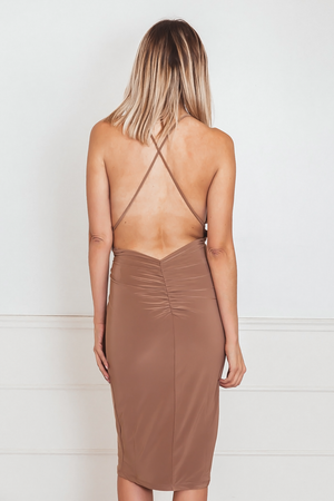 Sophisticated Sleeveless Dress with Open Back