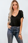 V-Neck Basic Tee - Black
