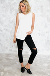 Basic Sleeveless Tee - White /// ONLY 1-L LEFT/// - Haute & Rebellious