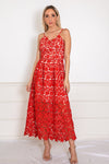 Lace Fit-and-Flare Midi Dress - Red