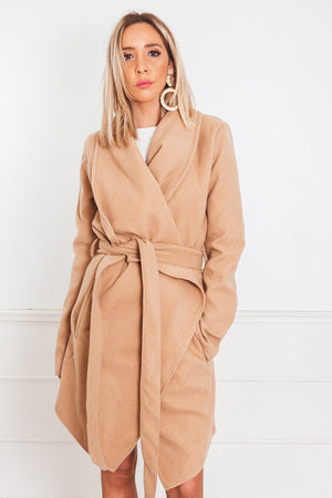 Drape Collar Coat - Camel