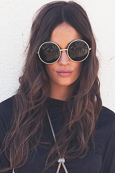 Farrah Round Sunglasses - Green/Gold
