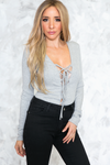 Lace-Up Ribbed Bodysuit - Heather Grey - Haute & Rebellious