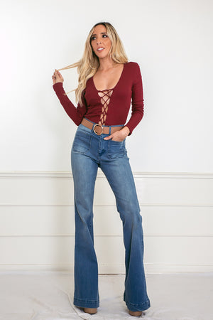 Ribbed Lace-Up Bodysuit - Burgundy