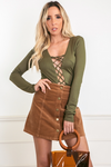 Ribbed Lace-Up Bodysuit - Olive