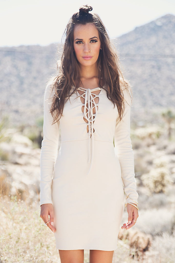Liana Long Sleeve Lace-Up Dress - Taupe
