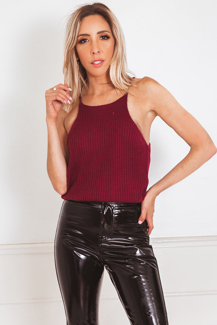 Sleeveless Ribbed Knit Crop Top