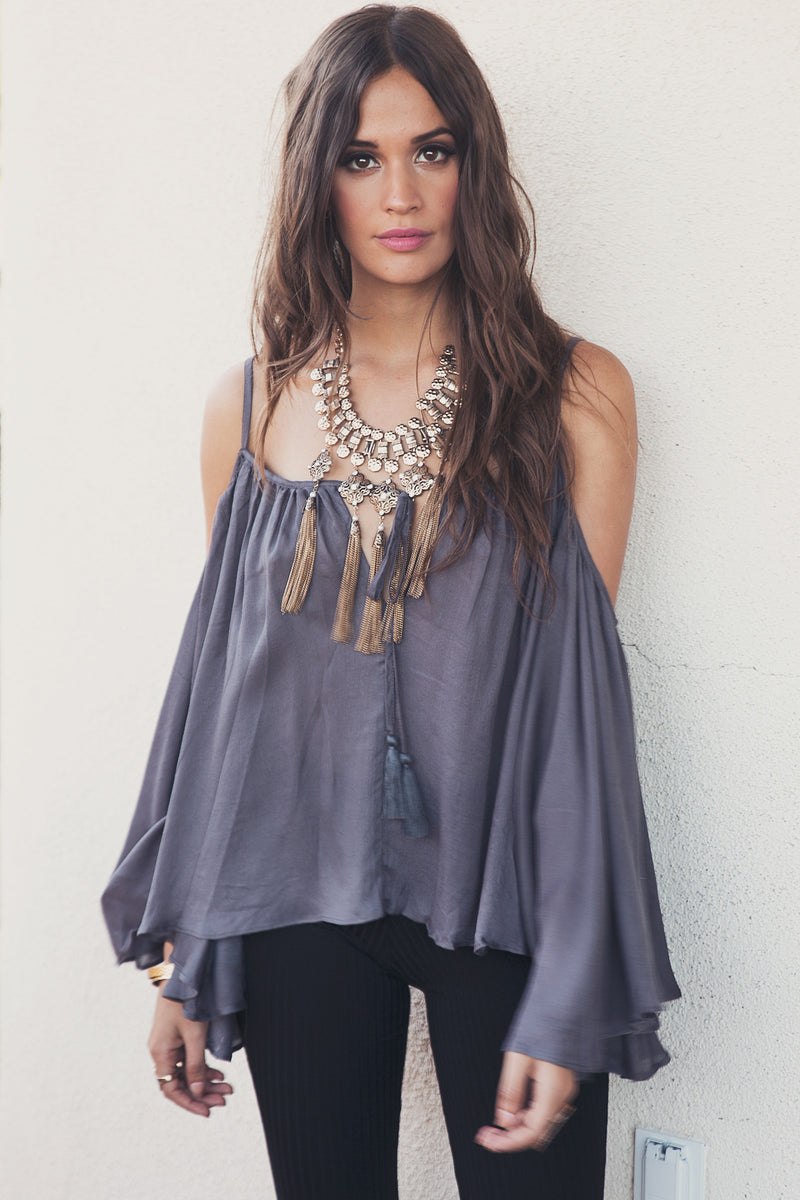 Tania Bell Sleeve Linen Top - Grey - Haute & Rebellious