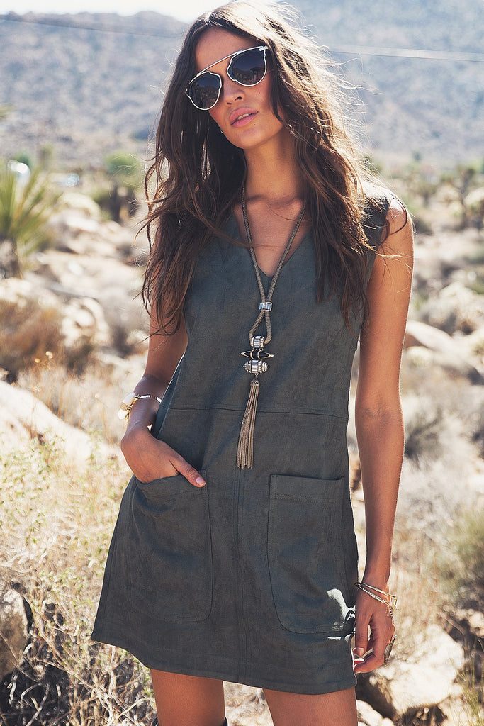 Aviana Sleeveless Suede Dress