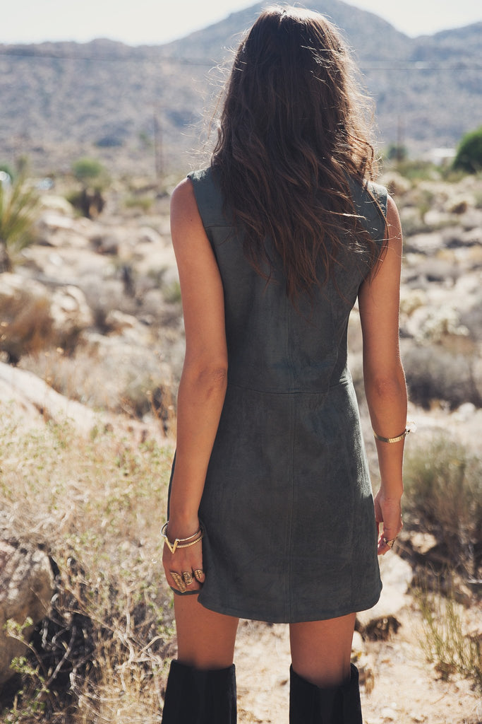 Aviana Sleeveless Suede Dress - Haute & Rebellious