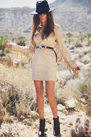 Dara Suede Fringe Dress - Taupe - Haute & Rebellious