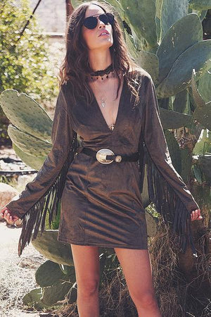 Dara Suede Fringe Dress - Olive