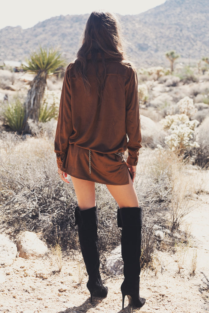 Aimee Long Sleeve Suede Tunic