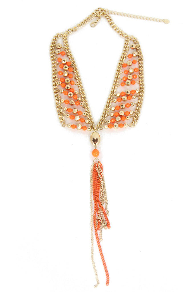 CHAIN TASSEL NECKLACE - Orange/Gold (Final Sale)