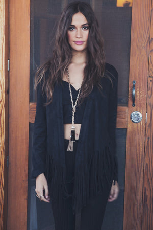 Suede Jacket with Fringe