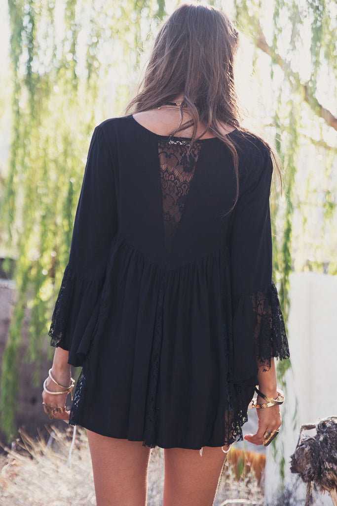 Alani Flowy Lace Top - Black (old)