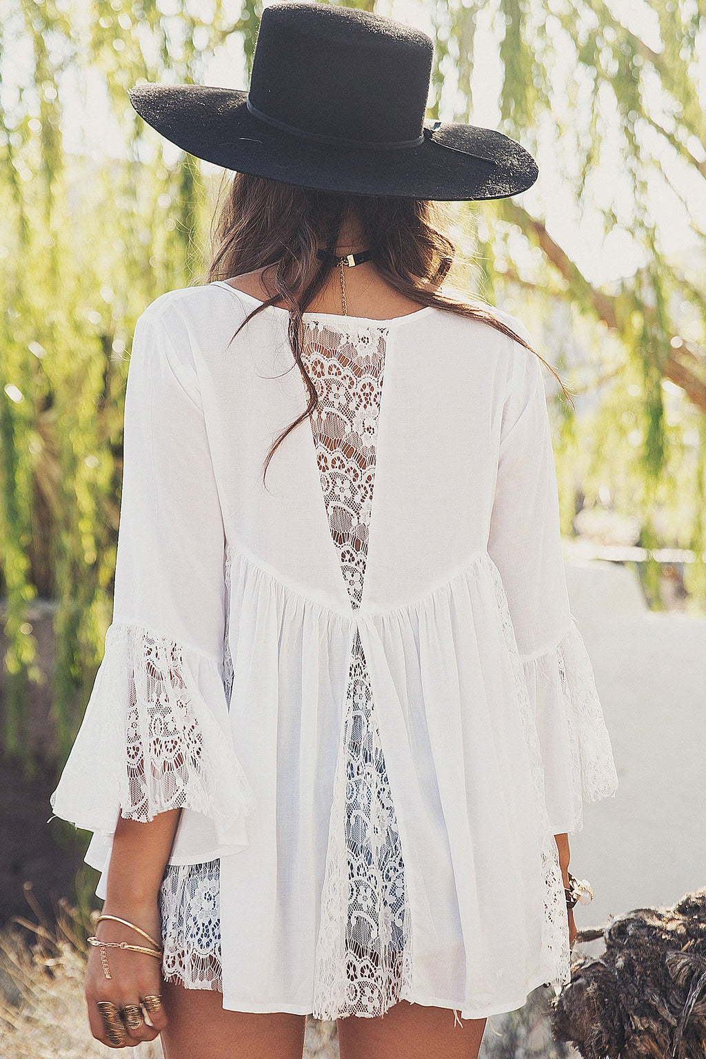 Alani Flowy Lace Top - White - Haute & Rebellious