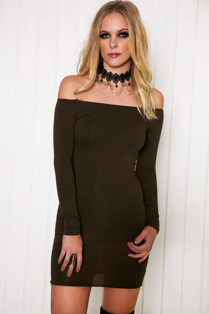 Arsin Off Shoulder Body-Con Dress
