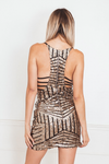 Sequin Sleeveless Mini Dress with Contrast Pattern