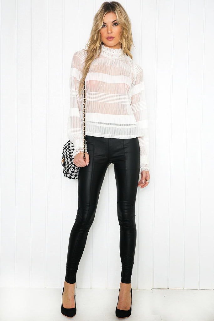 Yvelle Crochet Long Sleeve Blouse