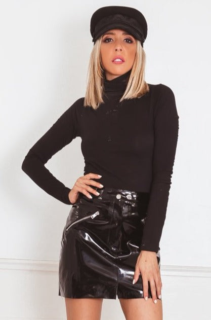 Long Sleeve Ribbed Turtleneck - Black