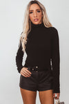 Long Sleeve Turtleneck Tee - Black