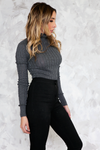 Ribbed Knit Turtleneck - Charcoal