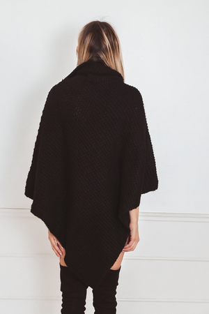 Knit Poncho Sweater with Turtle Neck