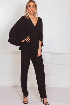 Elegant Cape Sleeve Jumpsuit - Black