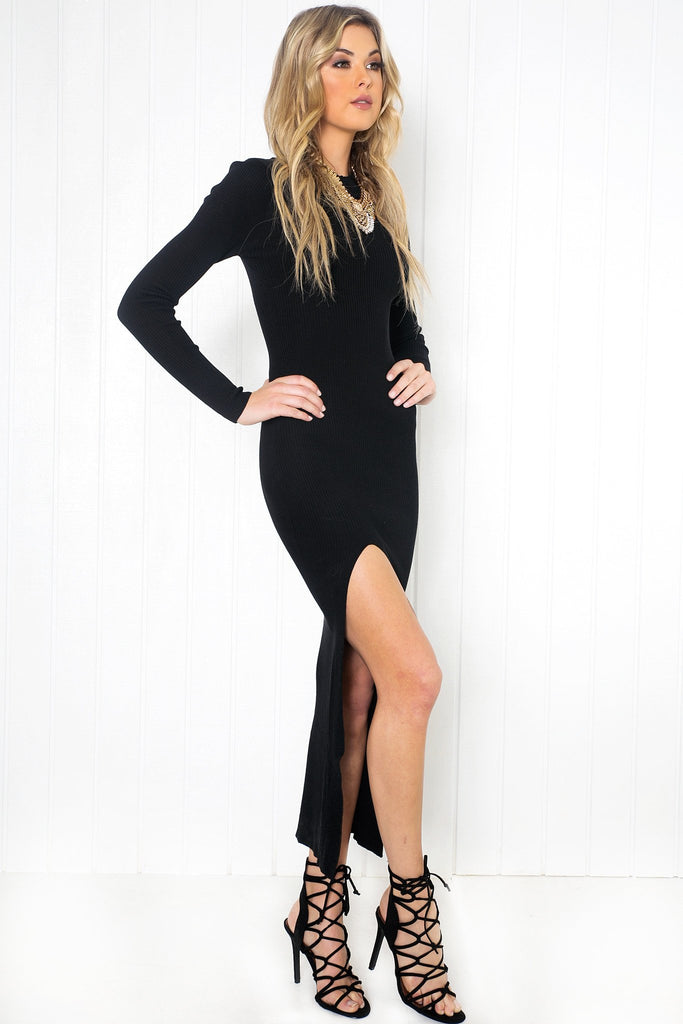 Loryn Ribbed High-Slit Dress