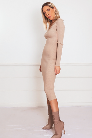 Ribbed Midi Dress - Nude /// Only 1-S Left ///