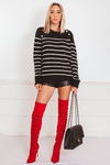 Striped Mohair Sweater with Button Detail