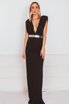 Deep-V Sleeveless Maxi Dress