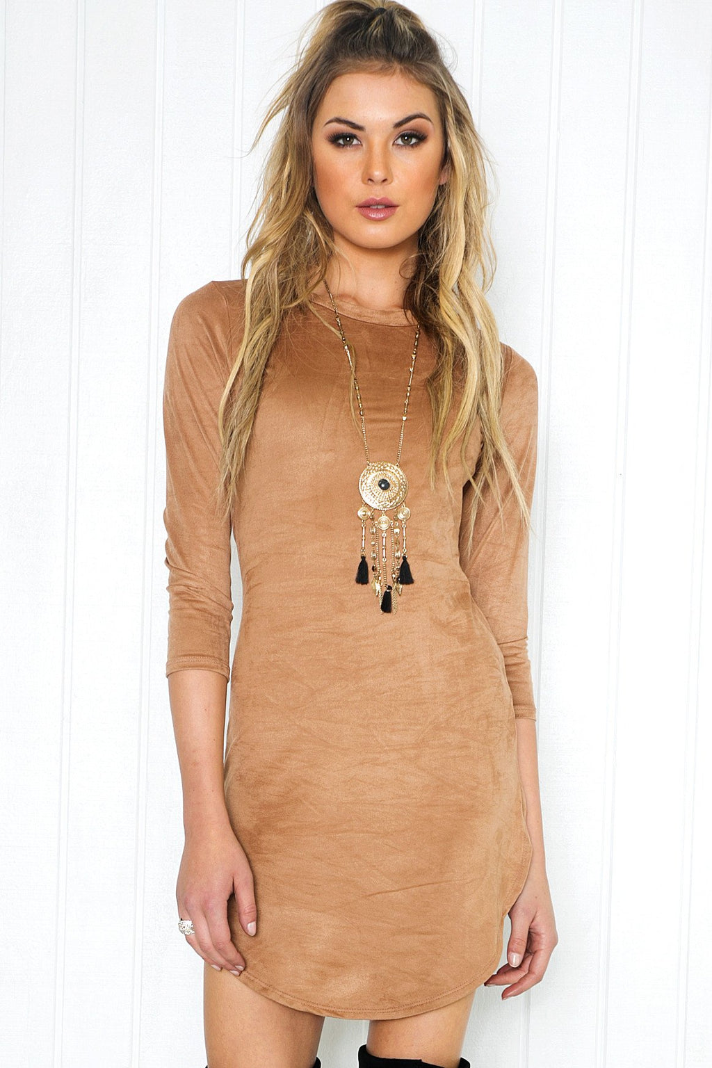 Adia Suede Shift Dress - Taupe - Haute & Rebellious
