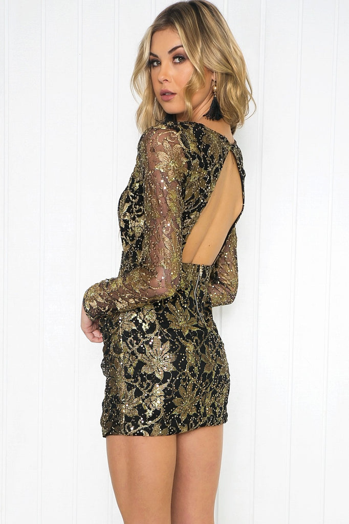 Kiara Baroque Sequin Lace Dress