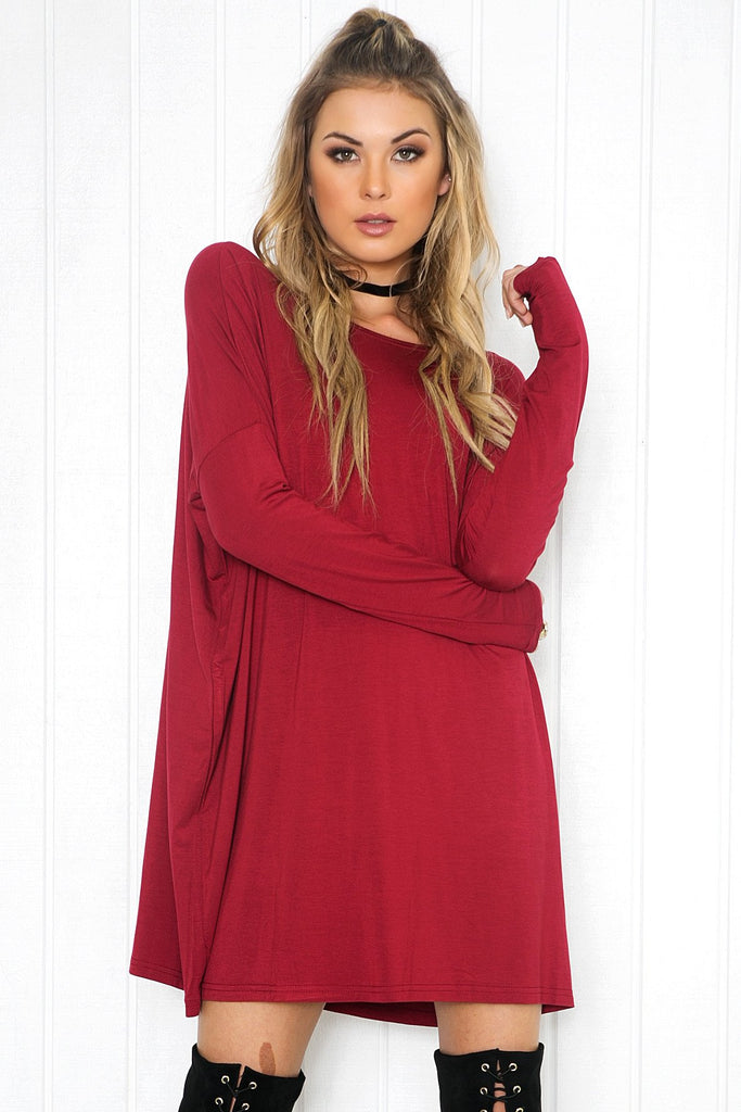 Cara Long Sleeve Shift Dress - Wine