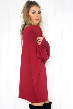 Cara Long Sleeve Shift Dress - Wine - Haute & Rebellious