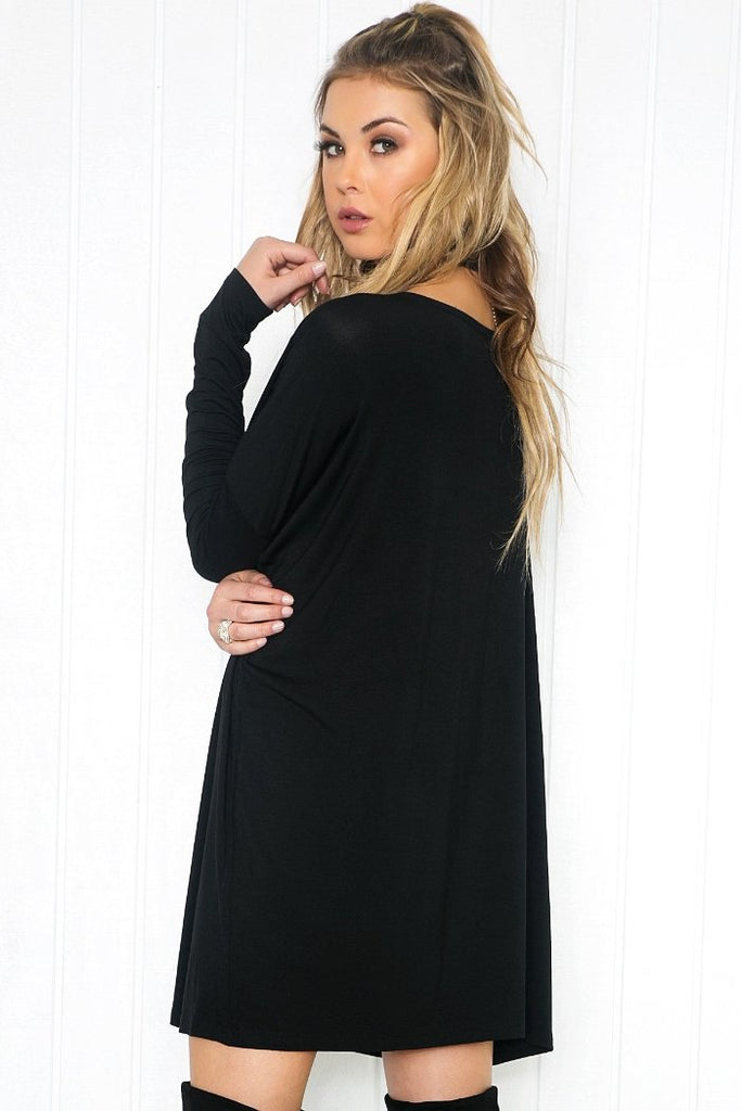 Cara Long Sleeve Shift Dress - Black