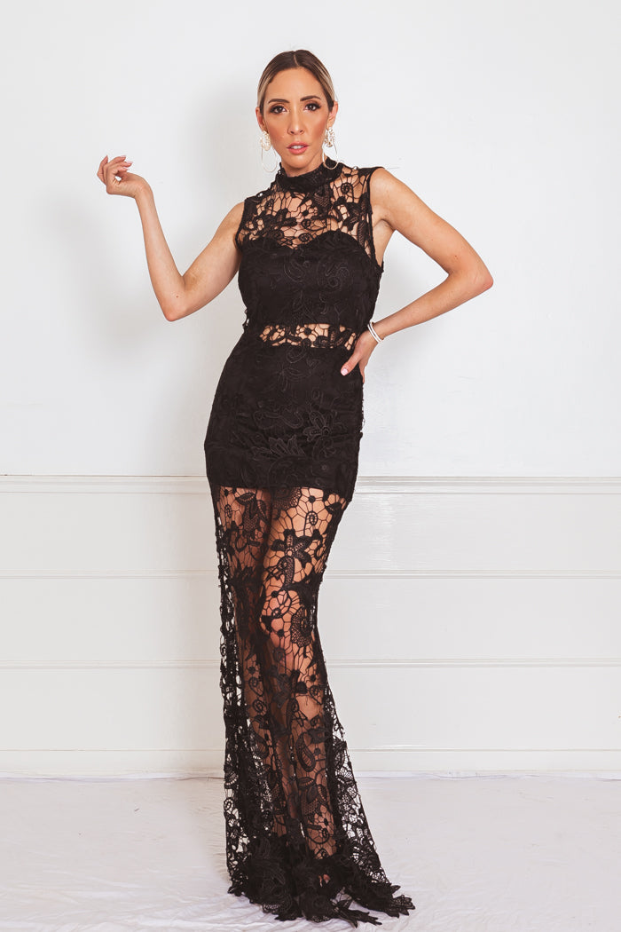 Lace Contrast Maxi Dress