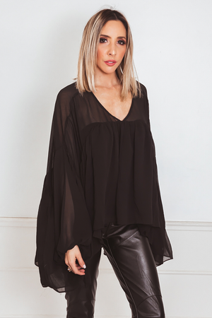 Sheer Layered Blouse - Black