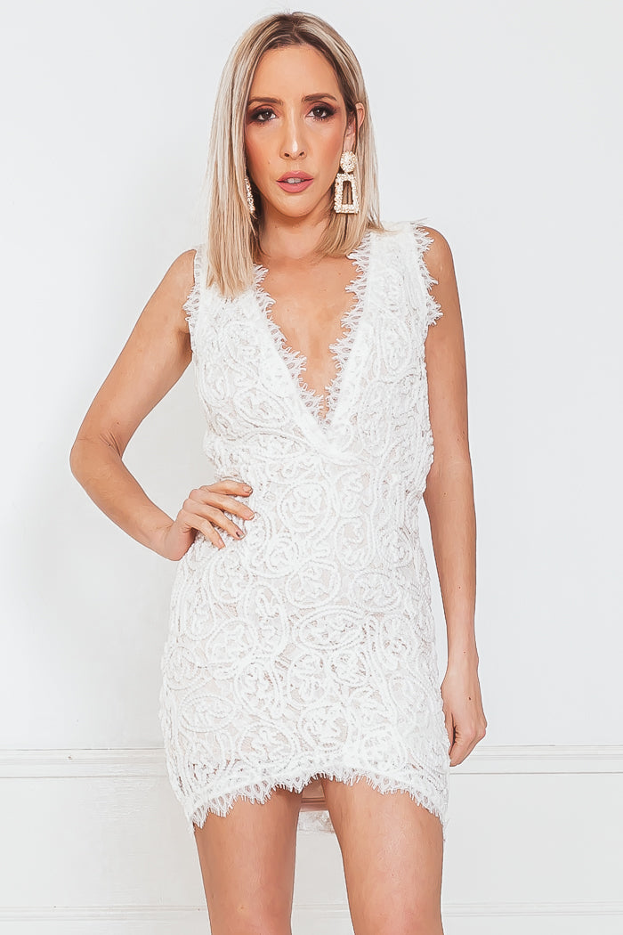 Sleeveless Mini Dress with V-Neckline - White