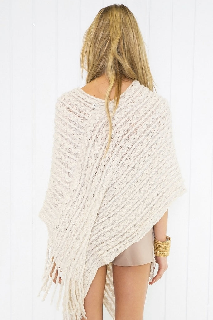 Maisie Knitted Poncho - Cream