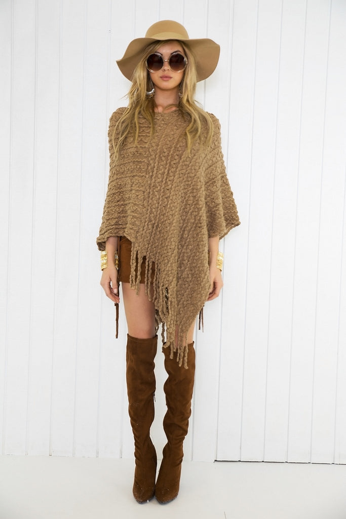 Maisie Knitted Poncho - Brown