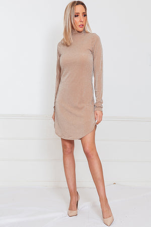 Metallic Long Sleeve Dress - Nude