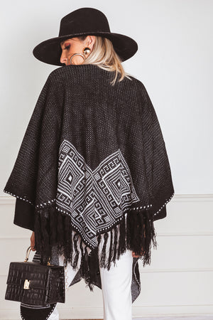 Poncho Cardigan Sweater with Fringe