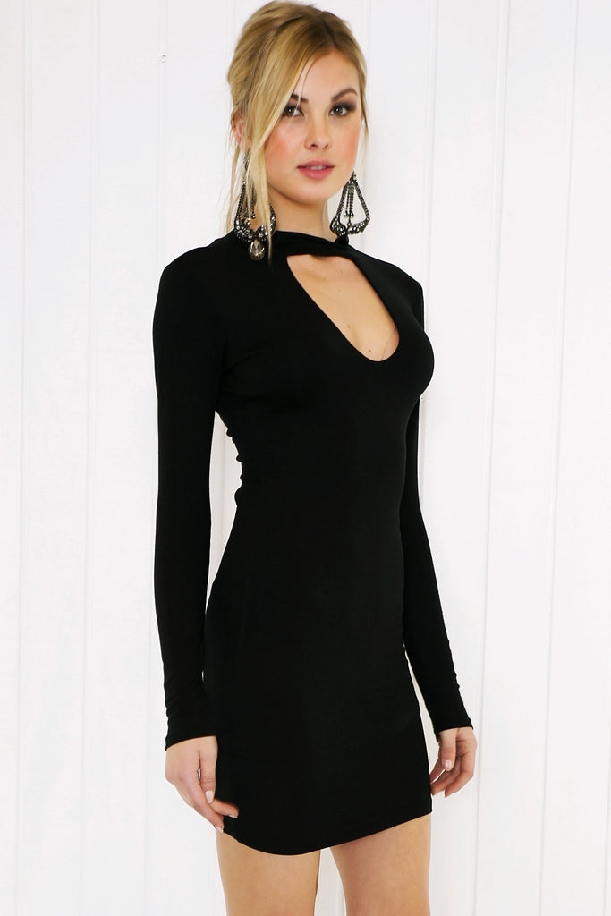 Jacey Deep-V Long Sleeve Dress