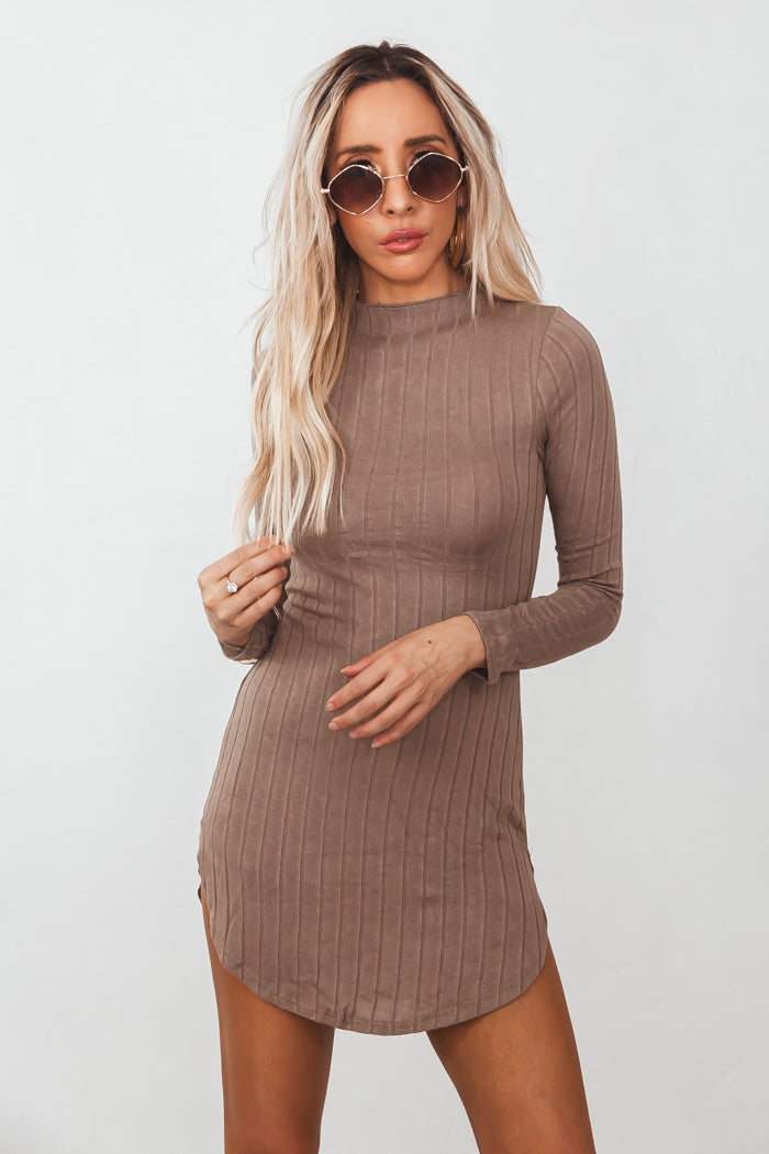Ribbed Long Sleeve Mini Dress /// Only 1-S Left ///