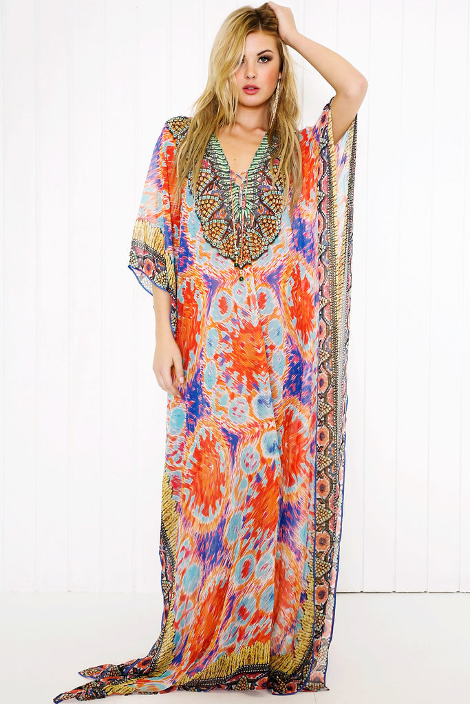 Tien Embellished Kaftan - Orange