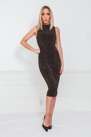Metallic Sleeveless Evening Dress